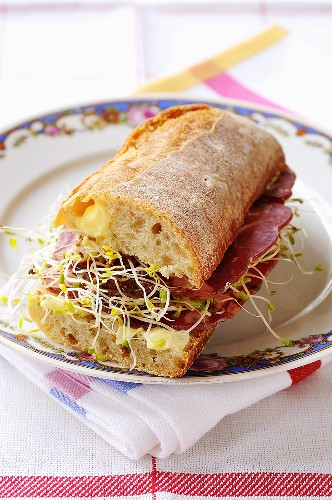 Coppa and sprout sandwich with mayonnaise