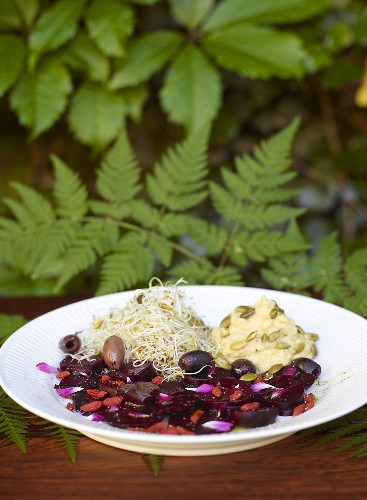 Vegetable platter with beetroot and hummus