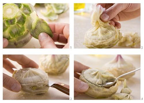 Trimming an artichoke