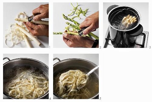 Peeling and cooking asparagus, boiling asparagus peelings