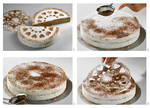 Poppy seed cake decorated with cocoa