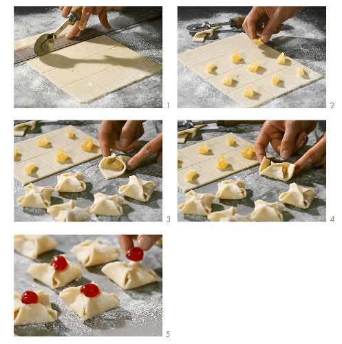 Making marzipan and pineapple sweets