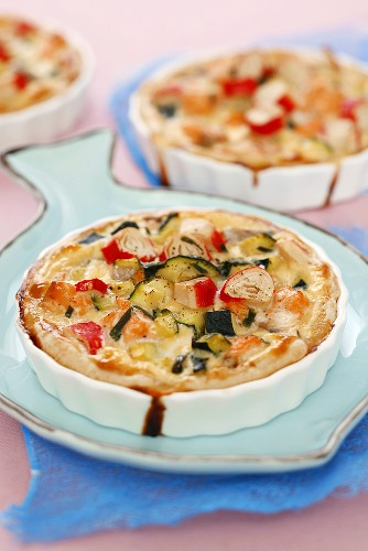 Salmon and courgette quiches