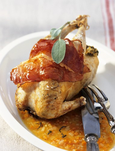 Fagiano arrosto (Roast pheasant with ham and sage)