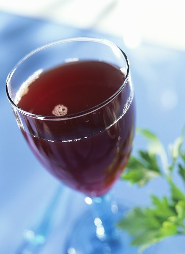 Drink made with cherry nectar, parsley juice & nettle juice