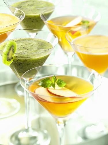 An apple Martini and a kiwi Martini