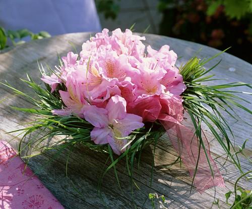 Arrangement of azaleas and grasses