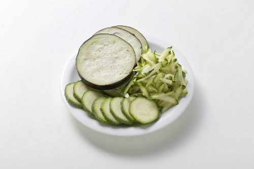Courgettes and aubergine, sliced and grated