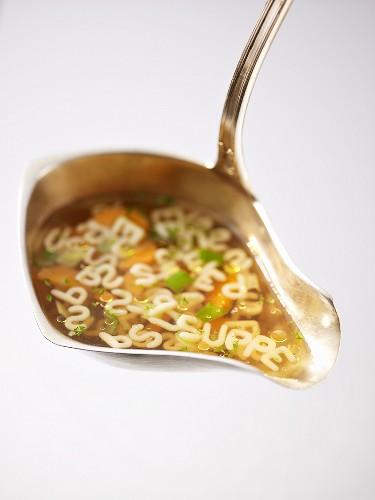 Alphabet soup in ladle