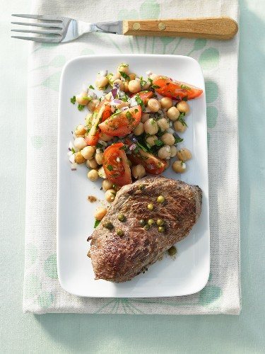 Peppered steak with chick-pea salad