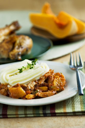 Chicken and pumpkin ragout with mashed potato