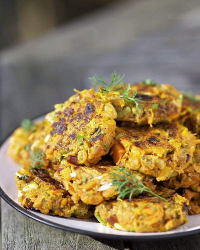 A plate of carrot burgers