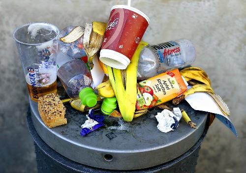 An over-full litter bin