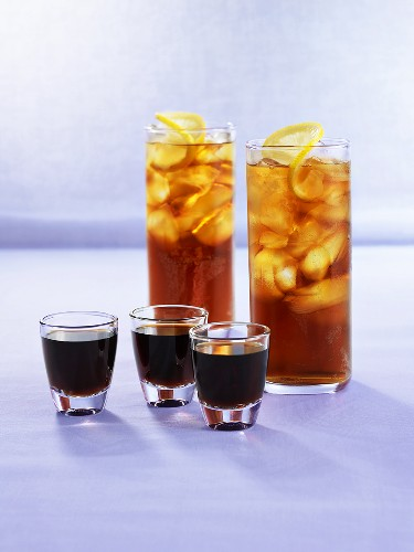 Three glasses of Jägermeister & Jägermeister & lemon drinks