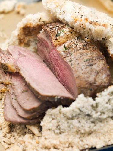 Roast lamb in salt crust