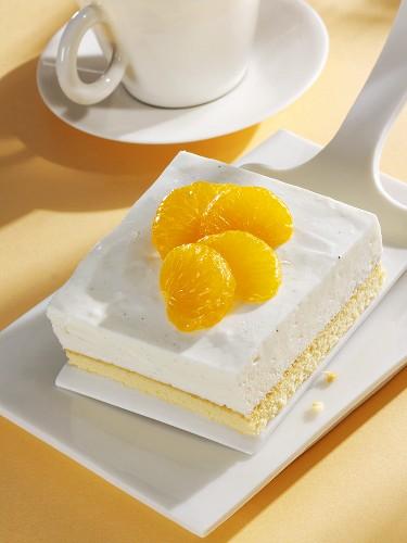 A piece of mandarin yoghurt cake