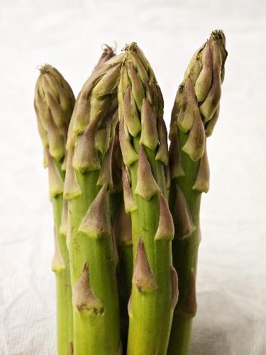 Green asparagus against white background