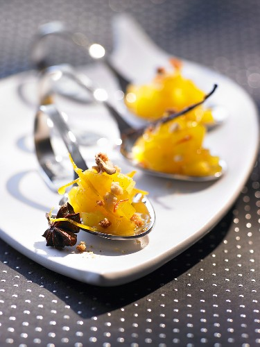 Quince compote with saffron and orange peel