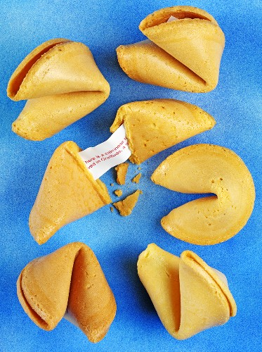 Fortune cookies on blue background