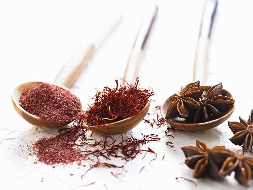 Chilli powder, saffron threads and star anise