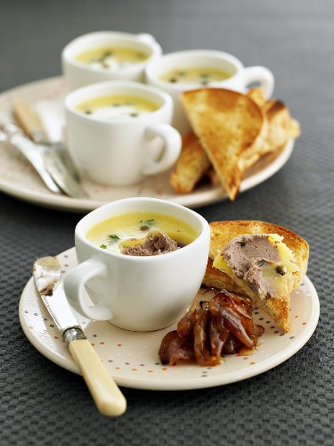 Chicken liver pate with sweet and sour shallots and slice of toast