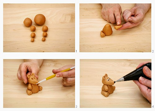 Making a dog from marzipan balls