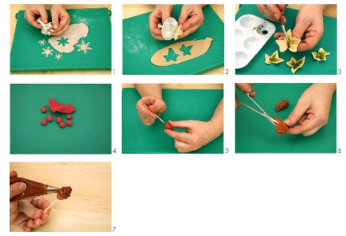 Making cake decorations from marzipan and fondant icing