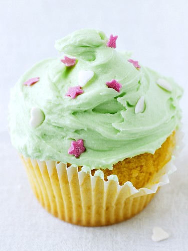 Cupcake with lime icing