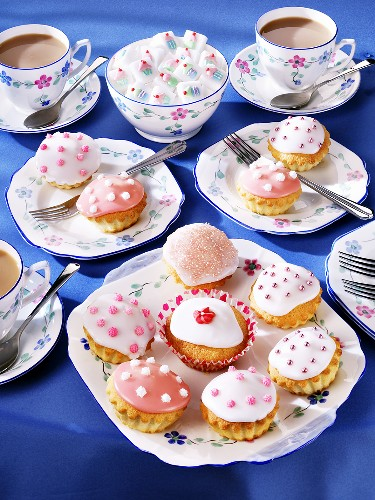 Tea party with fairy cakes