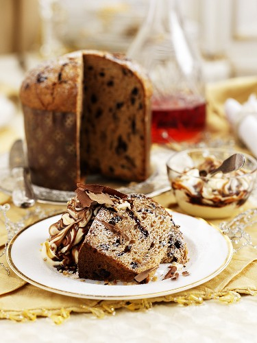 Panetone with vanilla and chocolate cream for Christmas dinner