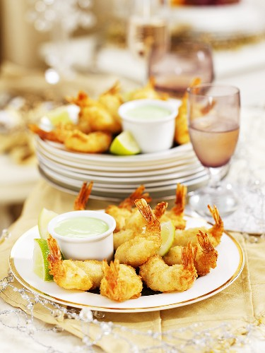Battered prawns and wasabi mayonnaise for Christmas dinner