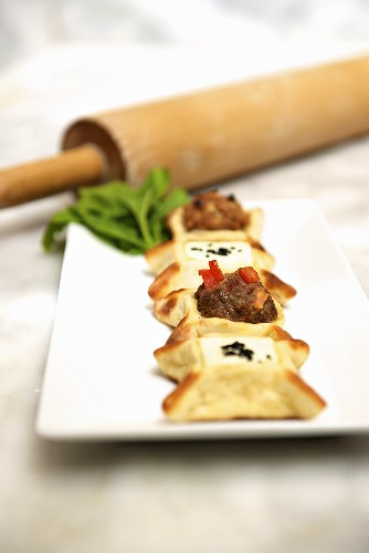 Safaih with sausage and labneh cheese (Lebanon)