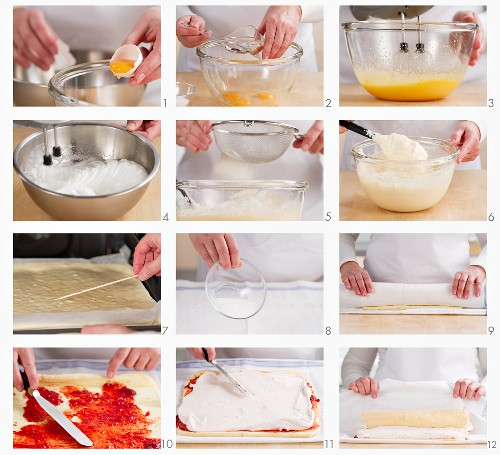 Biskuitrolle mit Erdbeersahne zubereiten