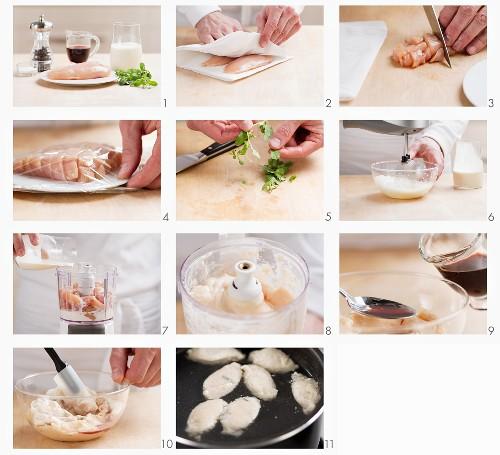 Chicken forcemeat being prepared