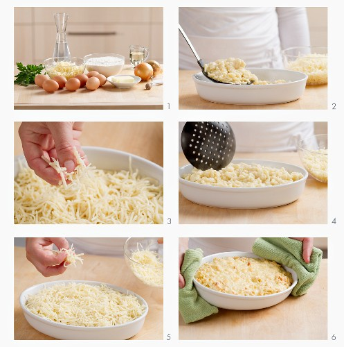 Preparing cheese spätzle
