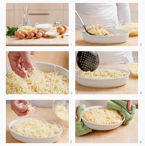 Preparing cheese spätzle