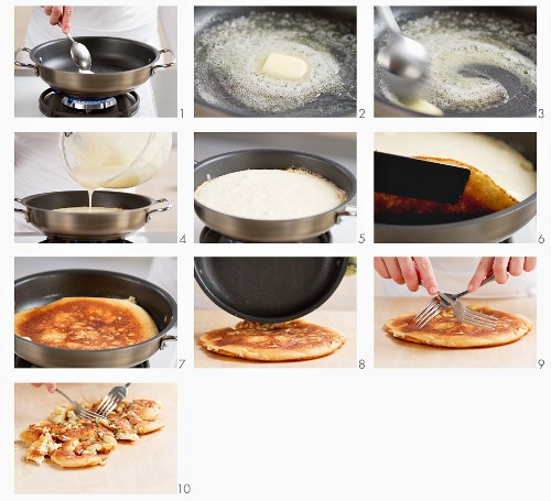 Preparing Kaiserschmarrn (pancake with raisins and plums): cooking the batter and cutting up