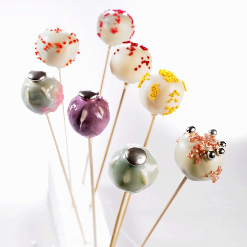 Eight different decorated cake pops