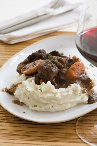 Ostrich and biltong stew with mashed potatoes