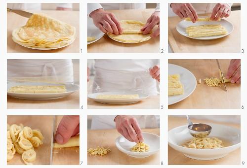 Pancake soup being made