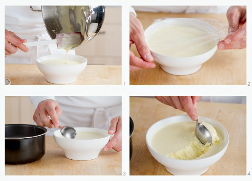 Bavarian cream being poured into a large bowl and made into dumplings