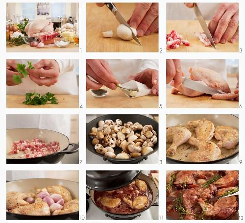 Coq au vin being prepared