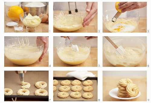 Piped biscuits being prepared