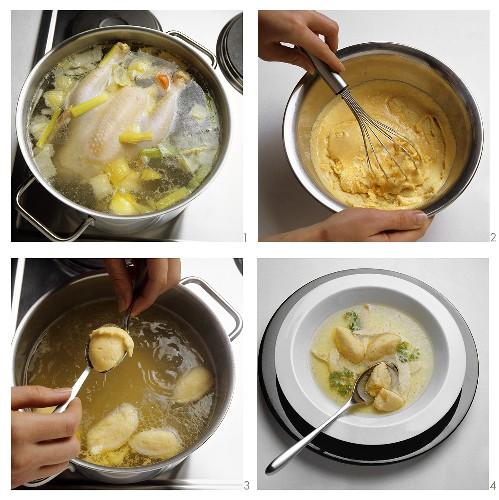 Making chicken soup with semolina dumplings