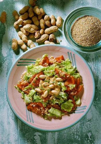 Quinoa salad with peanut sauce