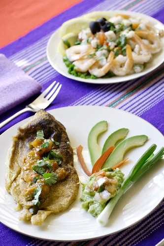 Chile relleno and shrimp salad