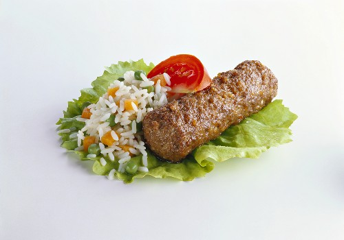 Cevapcici with Vegetable Rice