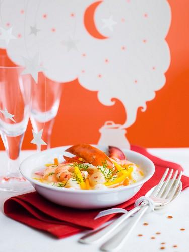 Scallop, shrimp and lobster Navarin, citrus sauce