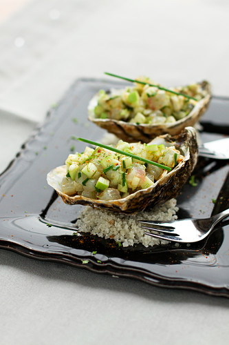 Oyster and bass tartare with green apple