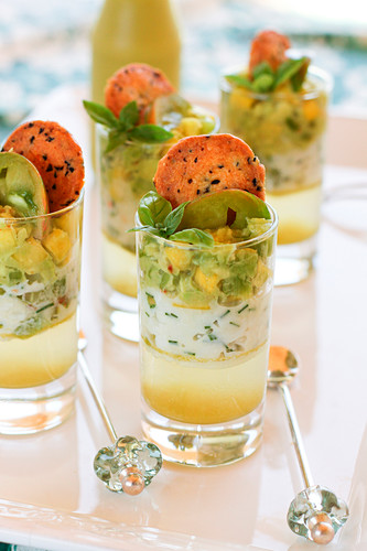 Green zebra tomato,chive cream and avocado Verrines topped with Herbes de Provence tuiles